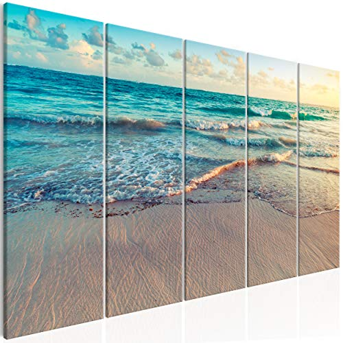 decomonkey Akustikbild Meer Strand 225x90 cm 5 Teilig Bilder Leinwandbilder Wandbilder XXL Schallschlucker Schallschutz Akustikdämmung Wandbild Deko leise Landschaft Natur