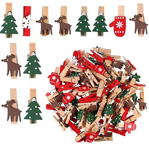 80 Piezas Clips Madera Copo Nieve, Clips Madera Árbol Navidad, Clips Madera Navidad...