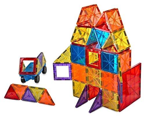 Mag-Genius Award Winning building Magnet Tiles Blocks Clear Colors 3D Brain Building Blocks Set of 108 +15 extra piece set bonus Includes 2 Cars And Free Storage Bin AGE 3 +