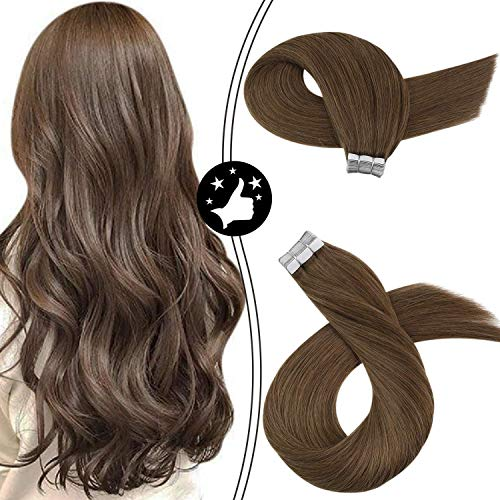 Moresoo Tape in Hair Extensions 14 Inch Skin Weft Tape in Human Extensions Color Gold Brown #10 Hair Extensions Tape in...