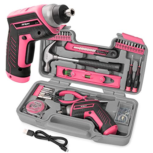 Hi Spec 35 Piece Pink Home DIY Tool Kit with USB Rechargeable 3.6V Electric Power Screwdriver. Easy Repair with Household Hand Tools & Picture Hanging Kit. All In a Portable Box