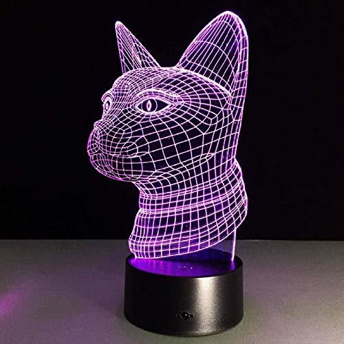 3D Cat standbeeld nachtlampje tafellamp binnen Touch sensor led lamp nachtverlichting 7 kleur veranderen lamp voor kat liefhebbers souvenir
