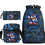 Mario Sonic Daypacks Cool Schoolbag Shoulder Bag Pen Case Three-Piece Set 3D Printed School Backpack para Girls, Mario7., 42x12x30cm,