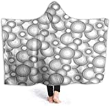 hgdfhfgd Hooded Blanket Hood Cloak Cape Wearable Cuddle Super Soft Sherpa Fleece 3D Blanket, Half Circles and Spiral Lines Ocean Waves Inspired Simplistic Pastel Color Design fashion12720