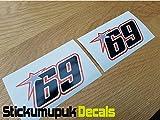 2 pegatinas de Nicky Hayden edición negra para casco de moto GP 69, tamaño mediano, 100 mm, vinilo impreso a color para coche, sin adhesivo P+P