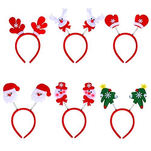 6 Stück Weihnachten Haarreife Festival Haarreif, Weihnachtsmann, Schneemann, Weihnachtsbaum Haarschmuck für Weihnachtsfeiern
