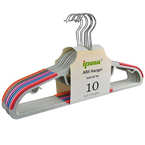 [Update Version] IPOW 10 Stück Farbig Antirutsch Kleiderbügel aus hochwertigem Kunststoff