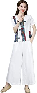 Howely Womens Contrast Wide Legs Ethnic Style Two Piece Pants and Shirt Sets