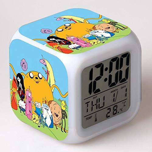 Zhuimin wekker voor kinderen, cartoon-tekening, kleurverandering, nachtlampje, LED, digitale klok, tafelklok
