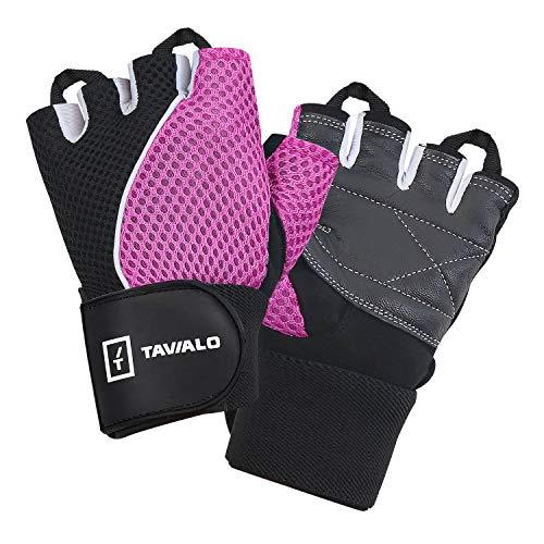 TAVIALO Fitnesshandschuhe, Traningshandschuhe für Damen, Größe M(8), Farbe Rosa/Weiß/Schwarz, doppelt verstärkte Handinnenfläche mit Leder