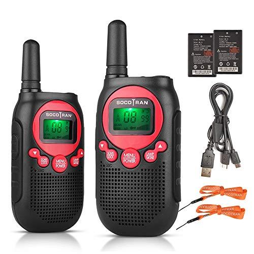 Walkie Talkie para Niños Radio Recargable para Niños de Dos vías 0.5W Radio de 8 Canales con Código de Privacidad Batería de Iones de Litio de hasta 3 km de Largo Alcance Monitor VOX Incorpora