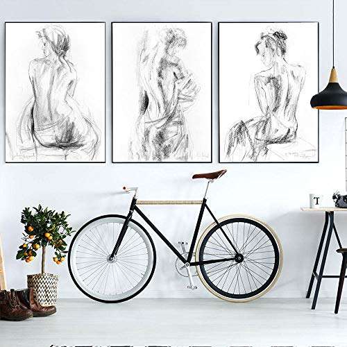 ZDFDC Blanco y Negro Desnudo boceto Sexy Mujer Lienzo Pintura Carteles e impresión Pared Cuadros Sala decoración-50x70cmx3 sin Marco