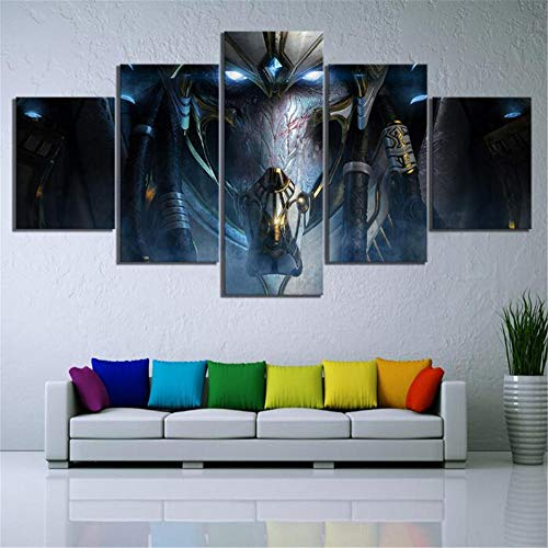 ZKPWLHS Impresiones sobre Lienzo 5 Piezas HD Fantasy Art Game Poster Wall Art Paintings Starcraft 2 Legacy of The Void Videojuegos Poster Decor (Tamaño B) con Marcos