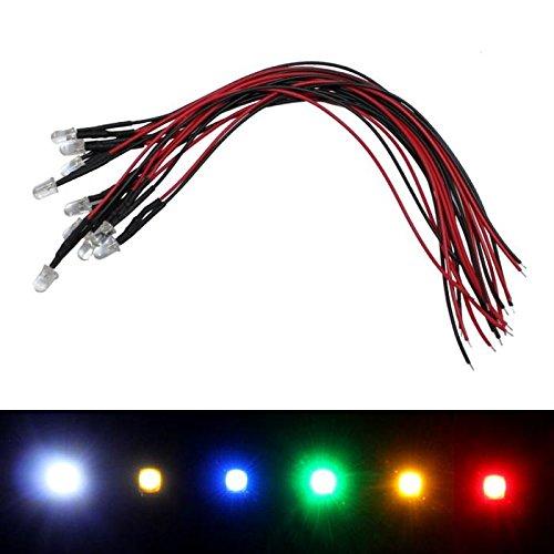 10x Superhelle LEDs 5mm Rot für 24V 20cm Kabel 3000…5000mcd 45°