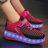 Kids LED Light Up Wheel Shoes - Glowing Sneakers Flashing Luminous Sneakers for Girls Boys Beginners, Children Slip-on Shiny Roller Skate Sneakers for Party Birthday Christmas Day (Hot Pink, 2.5)