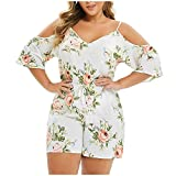 Aniywn Plus Size Women Jumpsuit V-Neck Cold Shoulder Spaghetti Straps Bohemia Print Floral Overall Rompers White