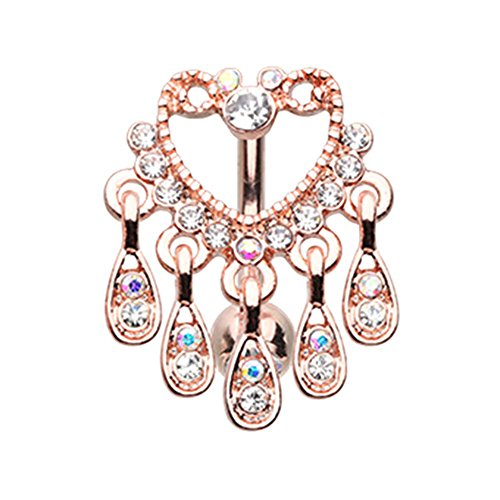 Rose Gold Elegant Chandelier Drop Top Down Reverse Auroa Gem WildKlass Belly Button Ring