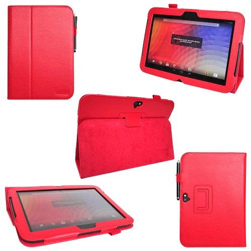 i-design Google Nexus 10 Premium PU Leather Case with Flip Stand Support, Stylus holder and Wake Sleep Function (Google Nexus 10, Red)