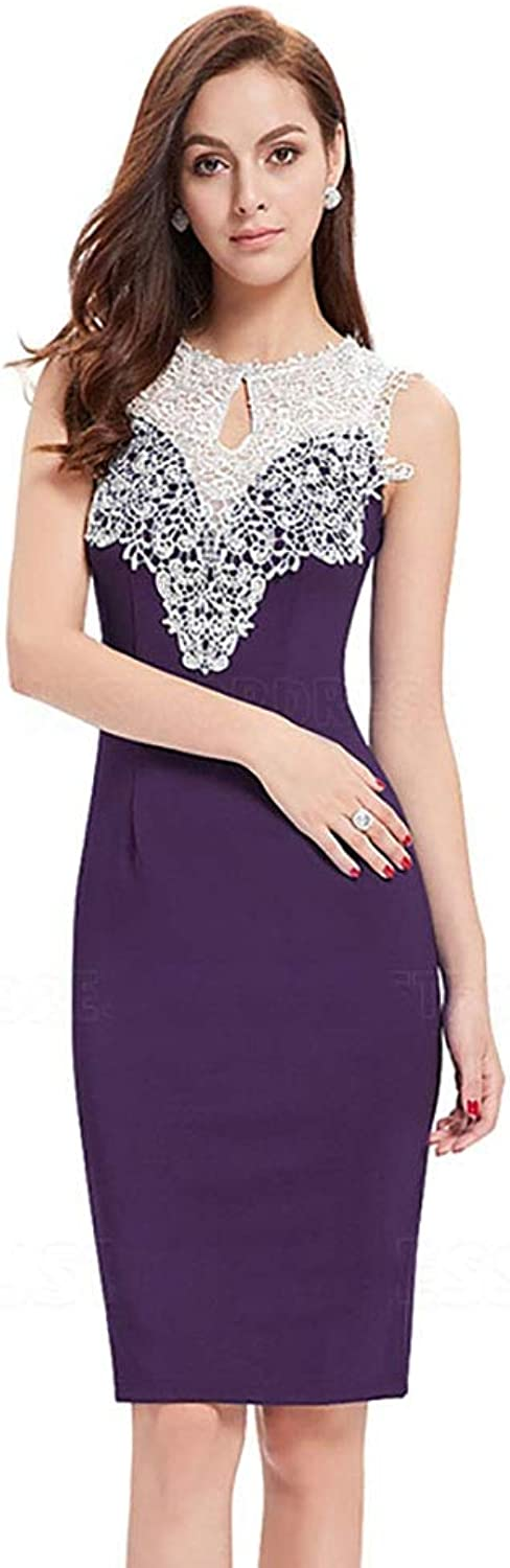 CG Sheath Column Jewel Neck KneeLength Evening Dress with Lace H752FC60