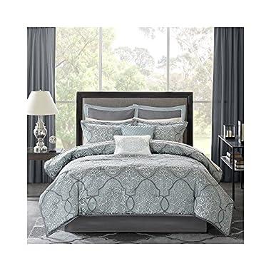 Madison Park Lavine King Size Bed Comforter Set Bed In A Bag - Blue, Jacquard Vine Fretwork – 12 Pieces Bedding Sets – Ultra Soft Microfiber Bedroom Comforters