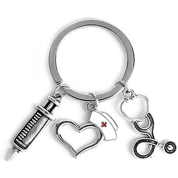 H Customs Spritze Arzt Stethoskop Schlüsselanhänger Anhänger Silber Aus Metall Spielzeug
