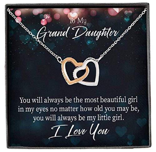 Express Your Love Gifts To My Granddaughter You Will Always Be Inseparable Collar colgante de oro rosa de 18 quilates, 40,6 cm, regalo para nieta