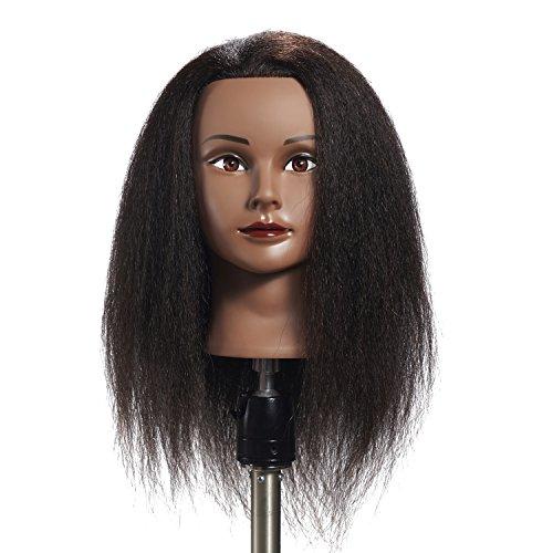 Hairginkgo 100% Real Hair Mannequin Head Hairdresser Training Head Manikin Cosmetology Doll...