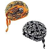 XYIYI 2Pcs Skull Cap Sweat Beanie Cycling Bandana Hat Sports Sweatband Headwrap(Black,Yellow)
