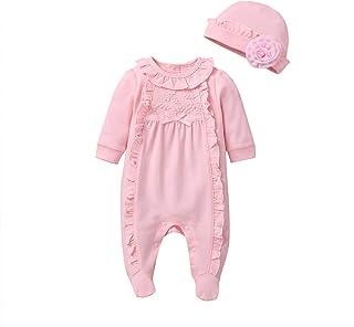 0-12 Meses,SO-buts Recién Nacido Bebés Niñas Ruffle Sólido Mono De Mameluco Floral Ropa De Dormir Casual Pijamas + Conjunt...