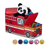 Relaxdays Bal para juguetes, Taburete infantil plegable, Caja con compartimento, Para nios y nios, Forma de autobs, 50 L, Camin de bomberos