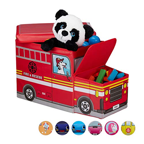 Relaxdays Baúl para Juguetes, Taburete Infantil Plegable, Caja con Compartimento, 50 L, Camión de Bomberos