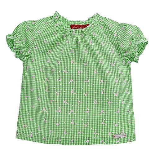 Alpenglück Baby-Trachtenbluse aus Baumwolle Gr. 104 I Schöne Mädchen-Bluse in Grün-Weiß I Karierte Kinderbluse I Bluse für Kinder aus Webware I Wunderschöne & Bequeme Kinderbekleidung