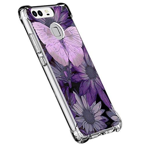 Beryerbi Funda para Huawei P9,Funda Transparente Silicona TPU Cover Mármol Linda Patrones Ultra Delgado Anti-Choque Anti Rasguños Bumper Protectora Caso Airbag para Huawei P9 (7, Huawei P9)