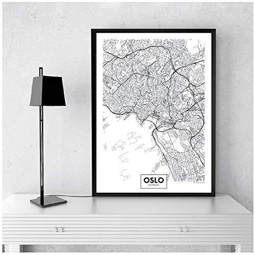 Zhaoyangeng Ciudad Moderna Oslo Mapa Lienzo Minimalista