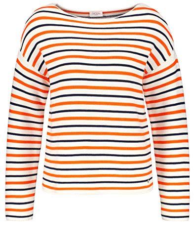 Gerry Weber Damen Pullover mit modischem Ringel leger Rot/Orange/Ecru/Weiss Ringel 48