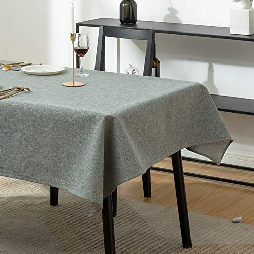 Effen kleur tafelkleed, katoenen linnen tafelkleed, tafelkleed zonder wassen, waterdicht en oliebestendig tafelkleed zonder wassen, voor rechthoekige tafelkleden in de keuken,Gray,140 * 160cm