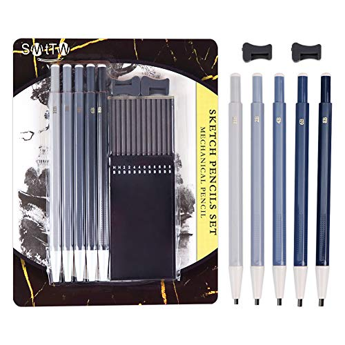 SMTTW 3mm mechanical drawing pencils, Lead&Graphite Refills 5 types: HB, 2B, 4B,6B&8B&Including Sharpeners, sketching pencil, pencil drawing, Drafting Pencil,Clutch Pencil for Sketching and Drawing(5)