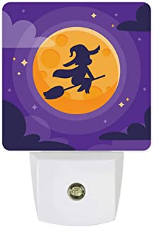 Plug-in Night Lights Flying Witch in Purple Sky Halloween Fairytales LED Night Lamp with Auto Dusk-to-Dawn Sensor Warm White Light& Ultra Low Power for Bedroom/Bathroom/Hallway/Kid's Room