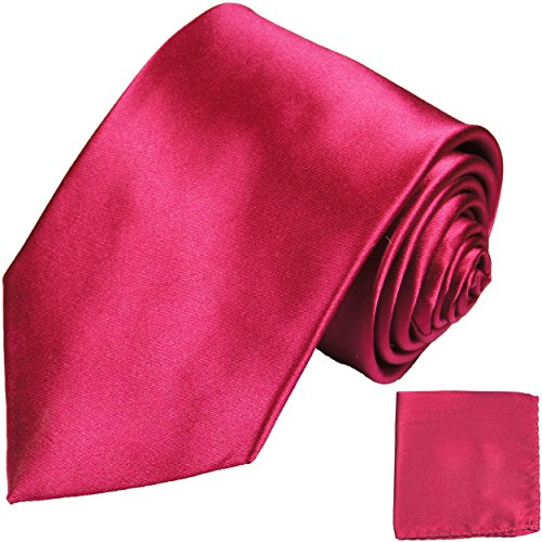 Krawatten Set Pink 100% Seidenkrawatte + Einstecktuch dunkelpink himbeere by Paul Malone