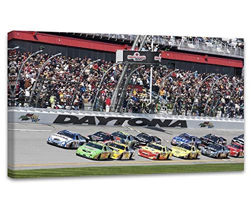 Daytona International Speedway Wall Art NASCAR Wall Decor Home Decorations Motor Racing Painting Canvas Prints Poster Framed Ready to Hang(28''Wx 16''H)