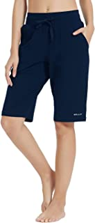 Willit Women's Active Yoga Lounge Bermuda Shorts Workout Running Shorts with Pockets