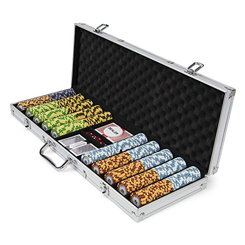 500-count Monte Carlo Poker Chips with Aluminum Case, 14 Gram, 3-Tone Chips   Includes 2 Decks of Cards & Dealer Button   Poker Sets with Case for Poker, Texas Hold 'em, Gambling & Casino Games