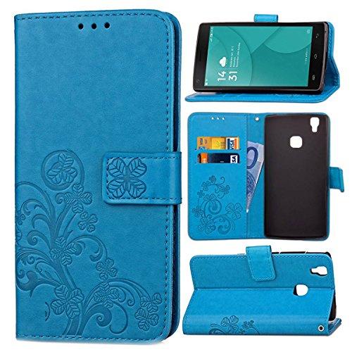 Guran® PU Ledertasche Hülle für Doogee X5 Max / X5 Max Pro Smartphone Flip Cover Brieftasche & Stent Funktionen Hülle Glücksklee Muster Design Schutzhülle - Blau