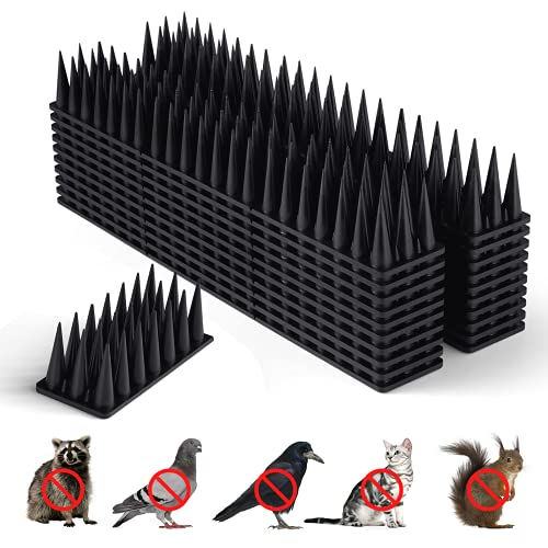 Bird Spikes, Bird Deterrent Spikes for Small Birds Pigeon Squirrel Raccoon Cats Crow Bird Repellent Spikes for Outside to Keep Birds Away, Anti Bird Plastic Fence Spikes for Railing and Roof