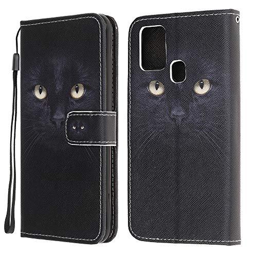 QC-EMART Kompatibel mit Galaxy A21s Hülle, Handyhülle Leder für Samsung Galaxy A21s Flip Hülle 3D Muster Schutzhülle Lederhülle Handytasche Brieftasche-Stil mit Kartenfach für Samsung A21s Katze