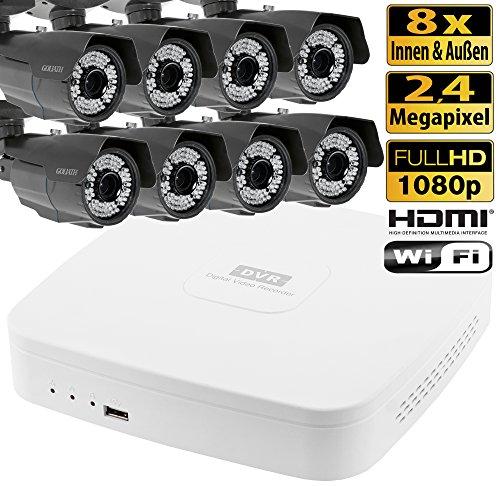 8 canali video sorveglianza HDCVI di controllo TELECAMERE DVR 8 all'esterno 2,4 Megapixel Full HD KP4