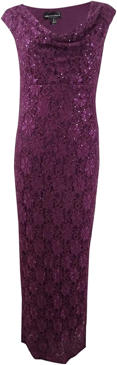 Connected Apparel Womens Lace Sequined Evening Dress