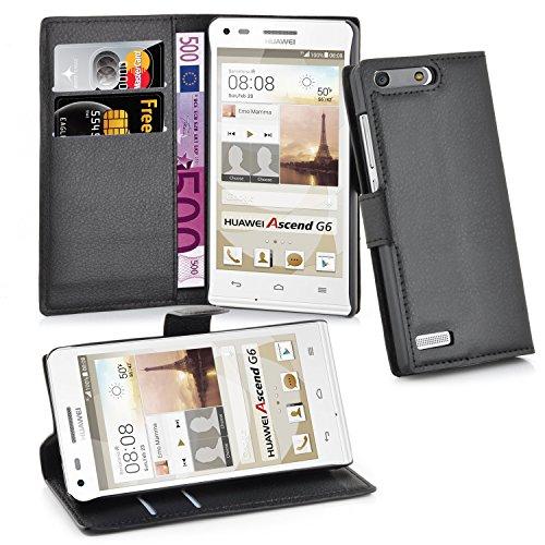 Cadorabo Hülle für Huawei Ascend G6 in Phantom SCHWARZ - Handyhülle mit Magnetverschluss, Standfunktion & Kartenfach - Hülle Cover Schutzhülle Etui Tasche Book Klapp Style