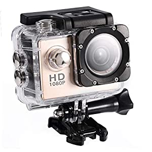 Mini Action Camera, 7 Colors 1080P HD 30m Underwater Waterproof Sports Camera DV, Digital Video Camera with Waterproof Shell, Mounting Kit for Outdoor Sports, Home Security, Driving Record(Gold)