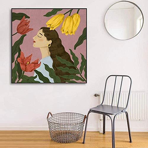 Vintage Flores Hermosa De La Lona  Pintura Pared Arte Poster E Imprimir Cuadros para Salon Interior Inicio Largo Mujer Sin Marco ATO-T182